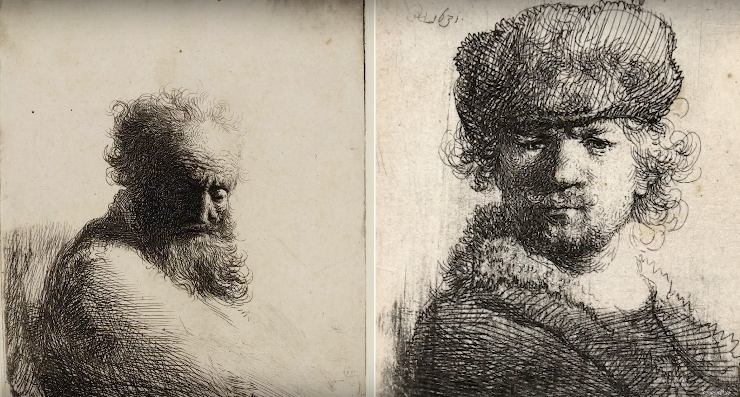 cross hatching, two self portraits by Rembrandt